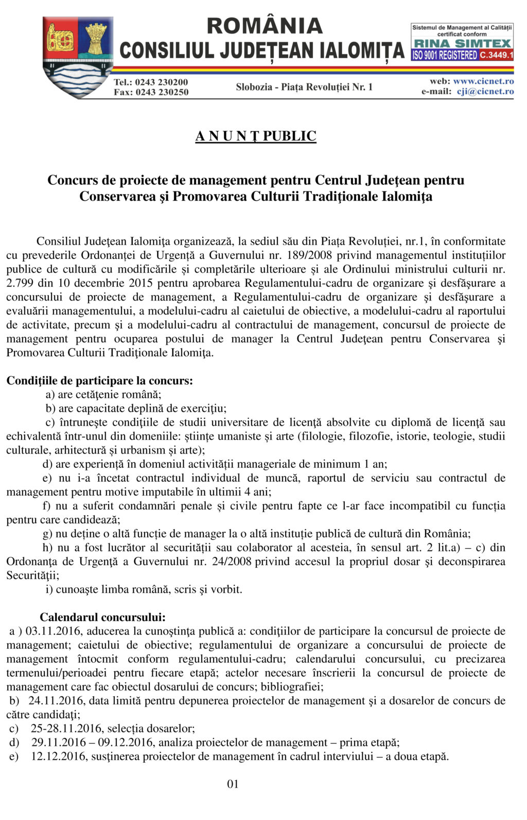 Anunt Concurs Manager - pag. 1