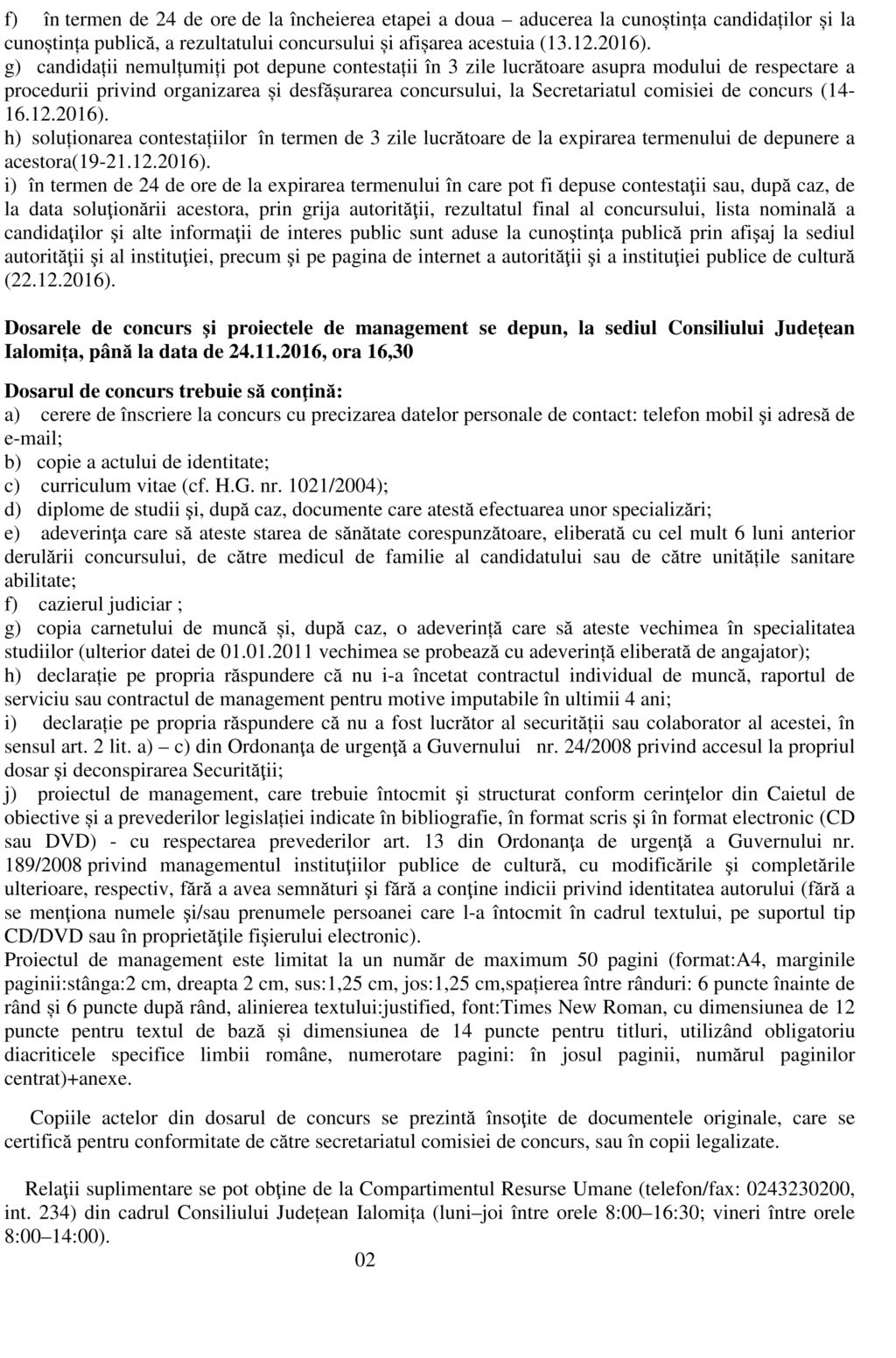 Anunt Concurs Manager - pag. 2