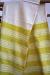 Stergar tesut in doua ite. Motive geometrice. Materie prima, borangic si bumbac, Cromatica alb si galben